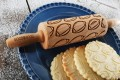 Mini wooden rolling pin with American Football
