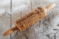 Mini wooden laser engraved rolling pin for coffee lover
