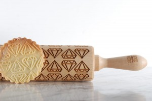 DIAMONDS - embossing rolling pin for wedding  or anniversary