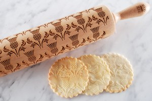 SCOTTISH THISTLE -  embossing rolling pin, with traditional Scottish symbol