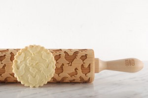 POULTRY - embossing rolling pin with ducks, hens and chickens