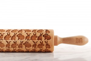 FUNNY RABBITS - embossing rolling pin , Easter gift with hare design