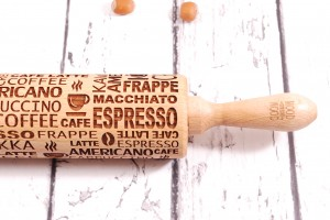 ESPRESSO - embossing rolling pin for cookies,  best variety for morning coffee