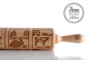 ANIMAL BISCUIT THEME - embossing rolling pin, springerle like wooden rolling pin