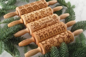 MERRY CHRISTMAS - set of 5 MINI embossing rolling pins, saves the space in drawers