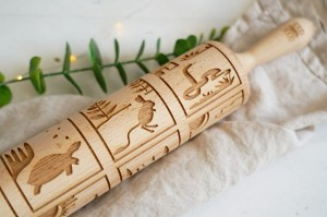 AUSTRALIAN ANIMALS THEME - embossing rolling pin, with typical Australian species