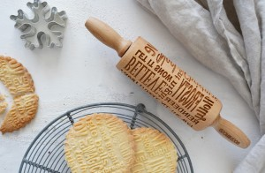 CHRISTMAS CAROL -  MINI embossing rolling pin, perfect cookies with Christmas text