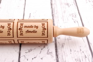 MADE BY... (biscuits style) - personalized embossing rolling pin for special person