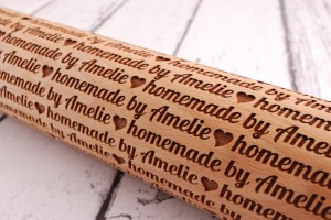 HOMEMADE BY... (horizontal pattern) - personalized embossing rolling pin, unique gift