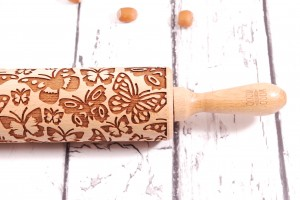 BUTTERFLIES - embossing rolling pin for cookies, chunky design good for a start